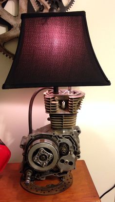 Lamp for Cylous Birthday (New Room Decor) Dirt bike motor lamp! Made from a 1989 Honda Dirt Bike. Car Part Furniture, Automotive Furniture, Automotive Decor, Office Furniture, Bedroom Furniture, Bedroom Decor, Bedroom Ideas, Furniture Design, Metal Projects