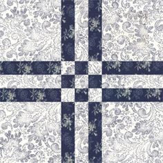A free quilt block pattern for the traditional Cross Four block design, a layout that works nicely on its own and with other quilt blocks.