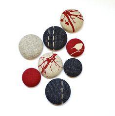 Magnets - Handmade. 8 Pack. Red, Denim. www.thewiggletree.com