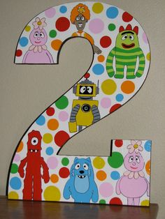 wood number 2 yo gabba gabba painted