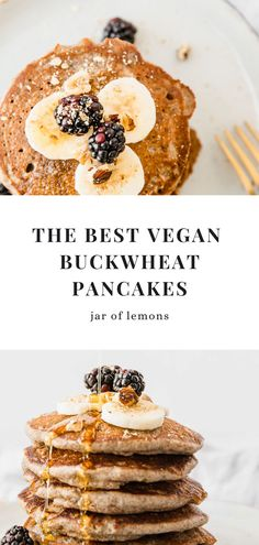 Fluffy, wholesome, sweet, and balanced, these Vegan Buckwheat Pancakes are the perfect combo of a healthy yet addicting breakfast! The delicate, nutty flavor of the buckwheat flour, combined with sweet fruit toppings makes this healthy vegan breakfast one you won't stop enjoying. Have this easy recipe ready to go in no time at all! Best Brunch Recipes, Gf Recipes, Lemon Recipes, Other Recipes, Gluten Free Recipes, Healthy Recipes, Vegan Buckwheat Pancakes, Recipe Ready, Healthy Vegan Breakfast