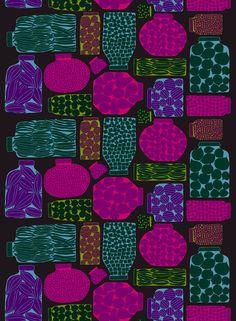 Purnukka by Erja Hirvi for Marimekko Design Textile, Fabric Design, Pattern Design, Pattern Paper, Fabric Patterns, Print Patterns, Textiles, Subtractive Color, Marimekko Fabric