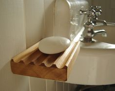 Contemporary wooden soap dish, re sawn cedar wood, wall mountable