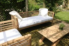 Bespoke and handmade garden seating from the Makers furniture workshops in the Loire Valley. UK and France delivery. Garden Day Bed, Garden Sofa, Garden Furniture, Outdoor Furniture, Dream Garden, Dining Furniture, Bed Maker, Bespoke Furniture, Furniture Makers