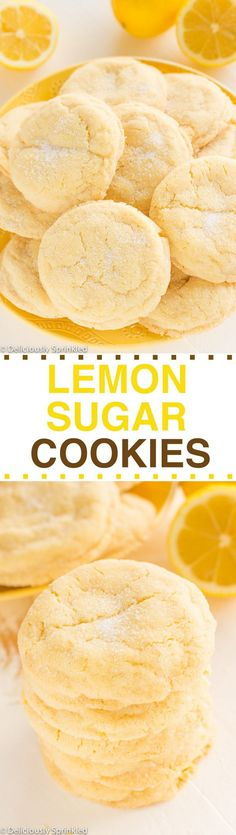 The BEST Lemon Sugar Cookies! A family favorite recipe passed down from my grandpa! The BEST Lemon Sugar Cookies! A family favorite recipe passed down from my grandpa! Lemon Desserts, Lemon Recipes, Just Desserts, Sweet Recipes, Baking Recipes, Cookie Recipes, Delicious Desserts, Dessert Recipes, Yummy Food
