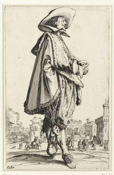 Jacques Callot | La Noblesse de Lorraine (The Nobility of Lorraine), Jacques Callot, 1620 - 1623 | Staande heer, gekleed in een cape afgezet met bont, schoenen met rozetten aan de voeten, een hoed met brede rand op het hoofd, de handen voor de buik gevouwen. Op de achtergrond een stadsplein waarlangs een rivier stroomt. Deze prent is onderdeel van een serie van 12 prenten met edellieden in kostuums die gedragen werden in Lotharingen in het eerste kwart van de 17e eeuw; de helft van de serie…