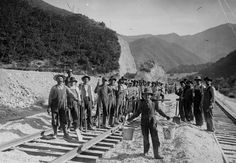 Laborers working on a railroad line at Spanish Fork Canyon, 1914 – History By Zim