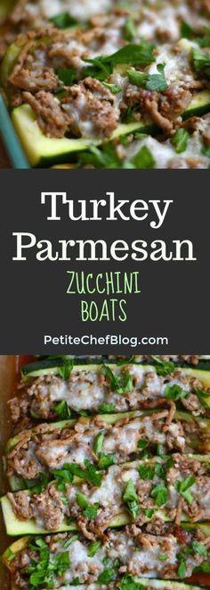 Turkey Parmesan Zucchini Boats - A delicious & healthy twist on chicken parmesan   PETITECHEFBLOG.COM Turkey Recipes, Dinner Recipes, Dinner Ideas, Meal Ideas, Food Ideas, Parmesan, Cooking Recipes, Healthy Recipes, Yummy Recipes