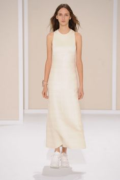 Racerback dress in off-white double-faced linen, cotton and silk, cuff in crystalline resin inlaid with coral red agate