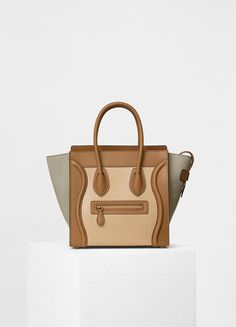 Micro Luggage Handbag in Baby Grained Calfskin and Nubuck - Spring / Summer Collection 2017   CÉLINE