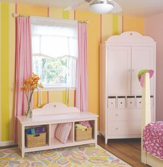 Shades of pink and yellow for a girl's room