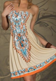 Bohemian Strapless Printed A-Line Dress For 512272796445