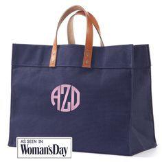 Personalized Personalized Navy Shopper Tote