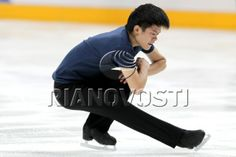 Japan's figure skater Takahiko Kozuka training before the beginning of the fourth stage of the Grand Prix series