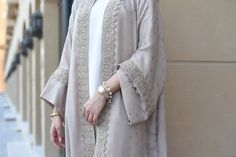 Beige linen Robe with lace