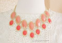 Peach and Coral Stone and Gold Lace Edge Necklace  $22.00, via Etsy.