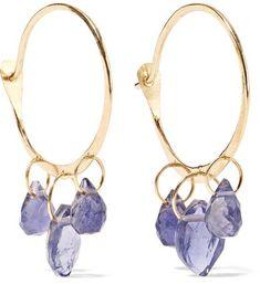 Melissa Joy Manning - 14-karat Gold Iolite Hoop Earrings