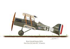 SE5A 1916 Vintage Aircraft Profile Artwork, A4 Glossy Print of First World British war airplane