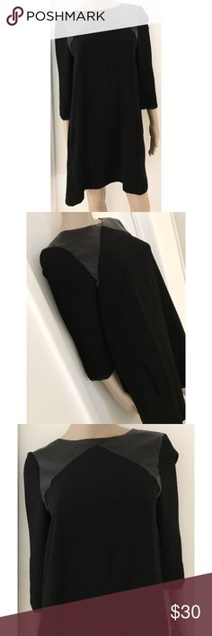 """EUC Zara Leather Shoulder 3/4 Sleeves Shift Dress In excellent pre-loved black dress from Zara in size medium. No flaws. Faux leather trimmed shoulder area itch 3/4 sleeves with chiffon trimming, lined. Measure about 34"""" length, 18.5"""" bust, 18"""" sleeves. Waist and hips are free. ❌No trades or modeling. Bundle more items together to save more. Thank you‼️ Zara Dresses Mini"""