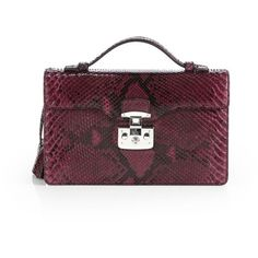 Gucci Lady Lock Python Briefcase Clutch ($1,673) ❤ liked on Polyvore featuring bags, handbags, clutches, purses, wine, zipper purse, wine purse, gucci handbags, gucci purses and snakeskin purse