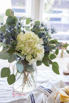 Simple Easy Grocery Store Flower Arrangement: hydrangeas, thistle, eucalyptus