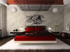 Japanese Modern Bedroom Interior Design Ideas with Abstract Vinyl Wall Stickers Decals