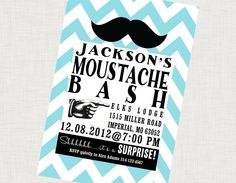 """Moustache Bash"" cute wording... now how to incorporate that with princess for the little lady? -Etsy."