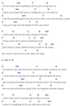 The Best Day Chords Capo 1 Taylor Swift