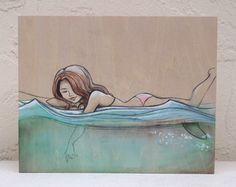 """Aqua by Tasha Chapman watercolor & graphite on balsa """"the ocean is my favorite place to be.  surfing is really fun but even just watching the patterns in the water is amazing #ElementEdenArtSearch"""