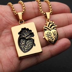 Fashion Puzzle Couple Anatomical Heart Necklace For Women Valentine Gift Gold Stainless Steel Chain Pendant Collares 2019 Vsco Diamond Cross Necklaces, 14k Gold Necklace, Diamond Solitaire Necklace, Gold Choker, Moon Necklace, Dainty Necklace, Bar Necklace, Silver Necklaces, Gold Bracelets
