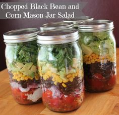 Mason Jar Salad Recipe Chopped Black Bean and Corn