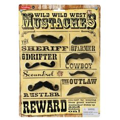 Make playtime more 'authentic' with the Wild, Wild West Mustaches from Schylling Toys. Designed for ages 3 years and older, this set features 7 different mustaches, all with an adhesive back that makes it easy to put on. Dress Up Western Mustaches Moustaches, Presents For Kids, Gifts For Him, Costumes Western, Wild West Party, Up Costumes, Movember, Christmas Gift Guide, Western Cowboy