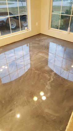 titanium and pearl reflector metallic epoxy floor by RAS Epoxy Coatings Baton Rouge