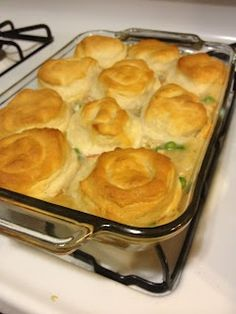 Easy Chicken Pot Pie...I used an extra can of cream of chicken soup and I used crescent rolls instead of biscuits...so delicious!
