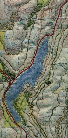 Ullswater map art quilt by Mary Bryning