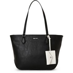 Nine West Black Society Girl Tote ($33) ❤ liked on Polyvore featuring bags, handbags, tote bags, black, nine west handbags, nine west tote bags, nine west tote, nine west and nine west purses