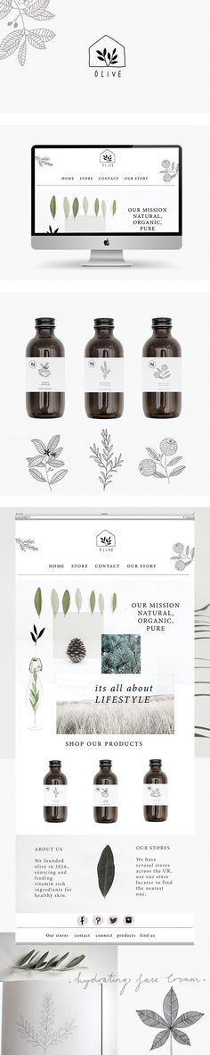 Branding and website for olive skincare by Ryn Frank logo design minimalist icon line drawing illustration packaging bottle