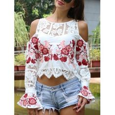 Sweet Women's Floral Embroidered Cold Shoulder Crop Top