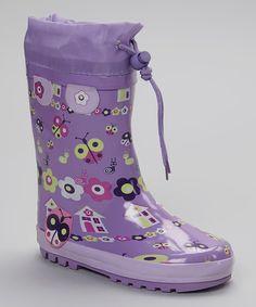 Look what I found on #zulily! C'est Le Pied Purple Ladybug Rain Boot - Kids by C'est Le Pied #zulilyfinds