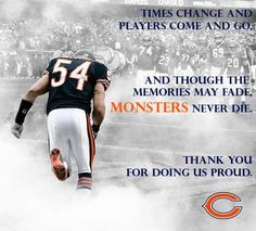 Thank you Urlacher for 13 seasons. (Always a bear) Chicago Bears, Chicago Nfl, Jr Sports, Sports Teams, Sports Pics, Best Sports Quotes, Nfl Championships, Bears Football, Bear Pictures