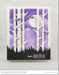 Stamps: BB Fab-BOO-lous Friends  Die-namics: BB Fab-Boo-lous Friends, Birch Trees, Solid Birch Trees, Grassy Fields, Circle STAX Set 1 Stencils: Mini Cloud Edges  Barbara Anders #mftstamps