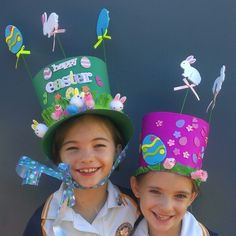 Day last day of school and the Easter bonnet parade! Easter Art, Easter Crafts, Easter Eggs, Art For Kids, Crafts For Kids, Diy Crafts, Easter Hat Parade, Carmen Miranda, 100 Happy Days