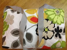 Designer IPad Bag/Purse/ Cream Background  with Pansies/ Zipper Closure/ Center Padded Divider/ Web Strap Handles/ Padding to Protect Device