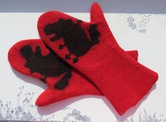 Felted  gloves Mittenswhite Felting  merino wool  Red by EshaCraft, $30.00