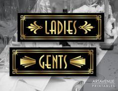 Art Deco Ladies and Gents Printable Signs by ARTAVENUEPRINTS