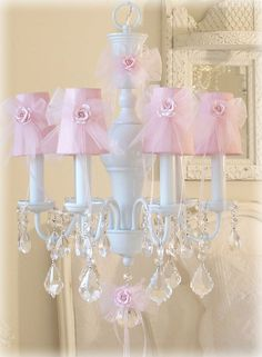 beautiful chandelier for Moira's room to match the tulle bedside table skirt I will make