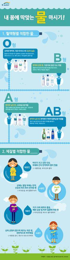 혈액형과 체질로 보는 내 몸에 딱 맞는 물 마시기에 관한 인포그래픽