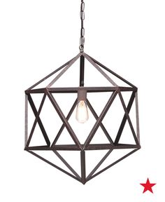 Unconventional lighting fixtures — like this Zuo Amethyst chandelier — make great statement pieces for your living room. Plus, raw metal finishes provide a nice contrast against wooden interiors