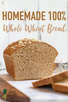 A simple and delicious recipe for the perfect homemade whole wheat bread loaf. It's great for sandwiches, toast, and beyond! A simple and delicious recipe for the perfect homemade whole wheat bread loaf. It's great for sandwiches, toast, and beyond! Healthy Homemade Bread, Healthy Bread Recipes, Sandwich Bread Recipes, Bread Machine Recipes, Whole Food Recipes, Homemade Sandwich Bread, 100 Whole Wheat Bread, Honey Wheat Bread, Sandwiches