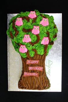 Owl Tree cake. Marble cake with chocolate butter cream.